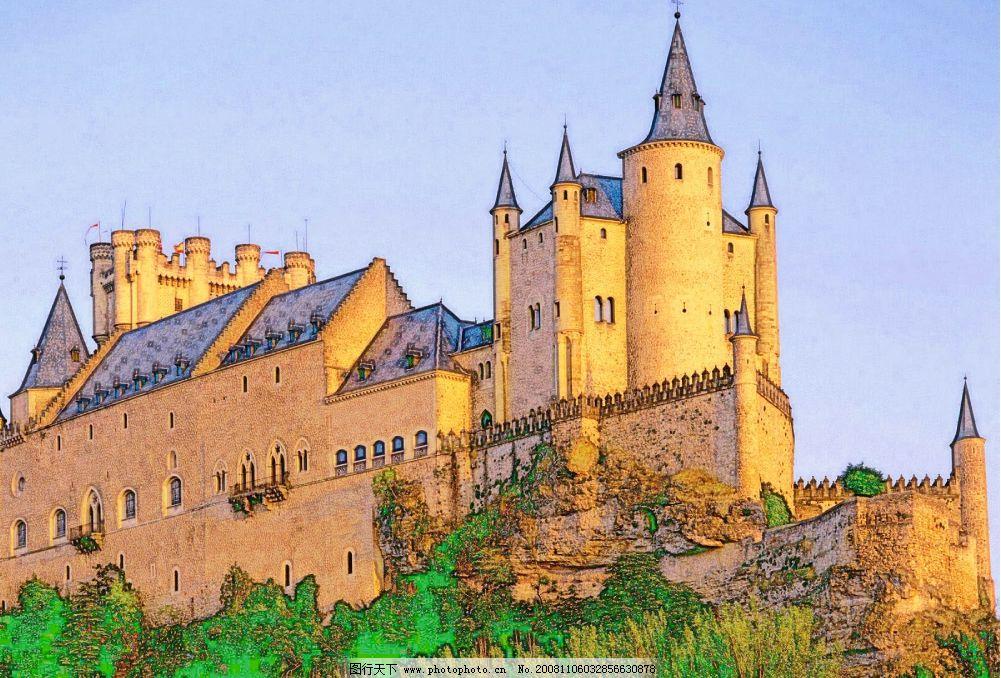 手绘城堡 手绘 城堡 蓝天 绿树 房子 psd分层素材 风景 源文件库 300