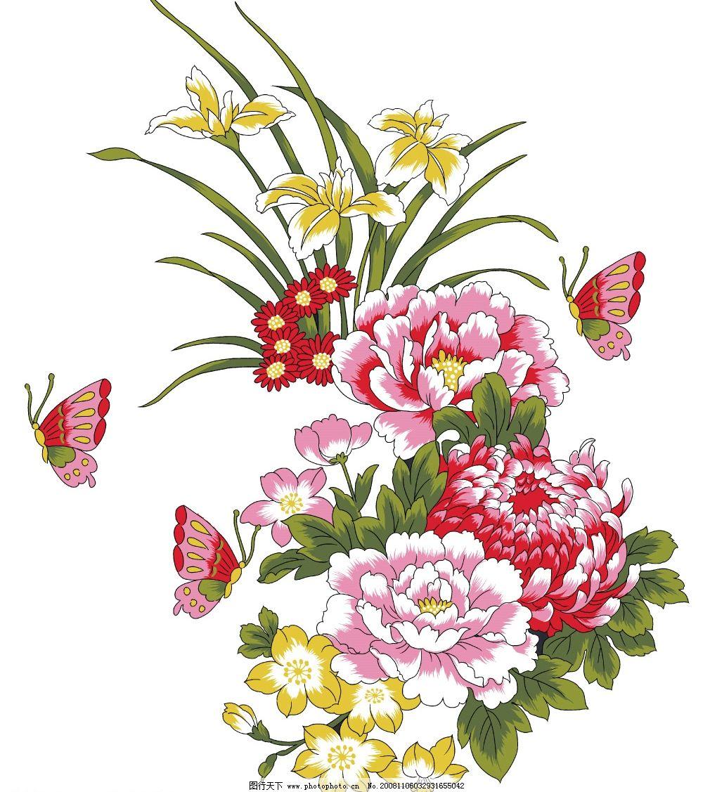 牡丹 花纹 浪漫 韩国风格 玻璃 移门 手绘 花 彩绘 插画 摄影素材 psd