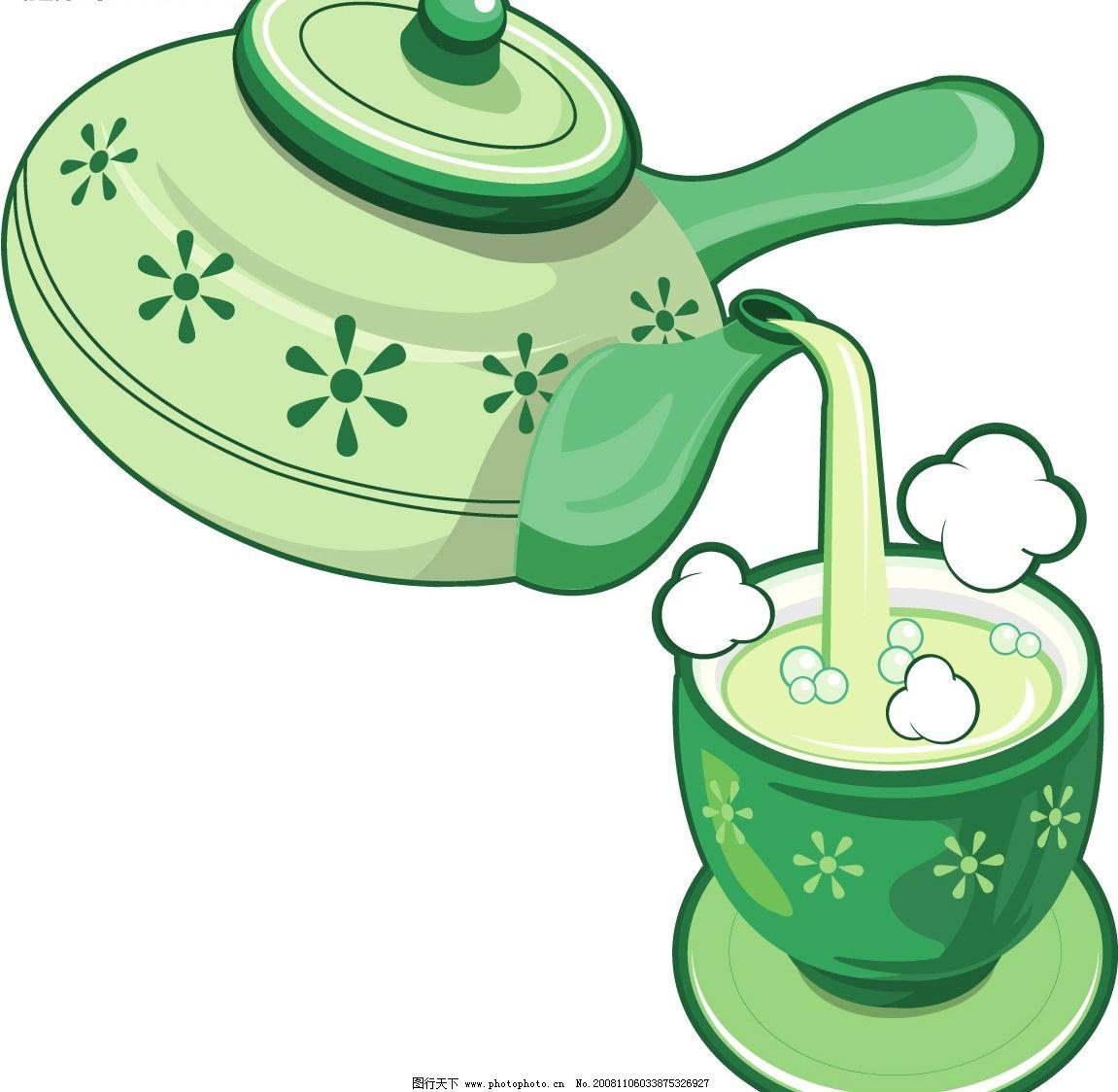 倒茶 茶壶 茶杯 茶水 其他矢量 矢量素材 矢量图库