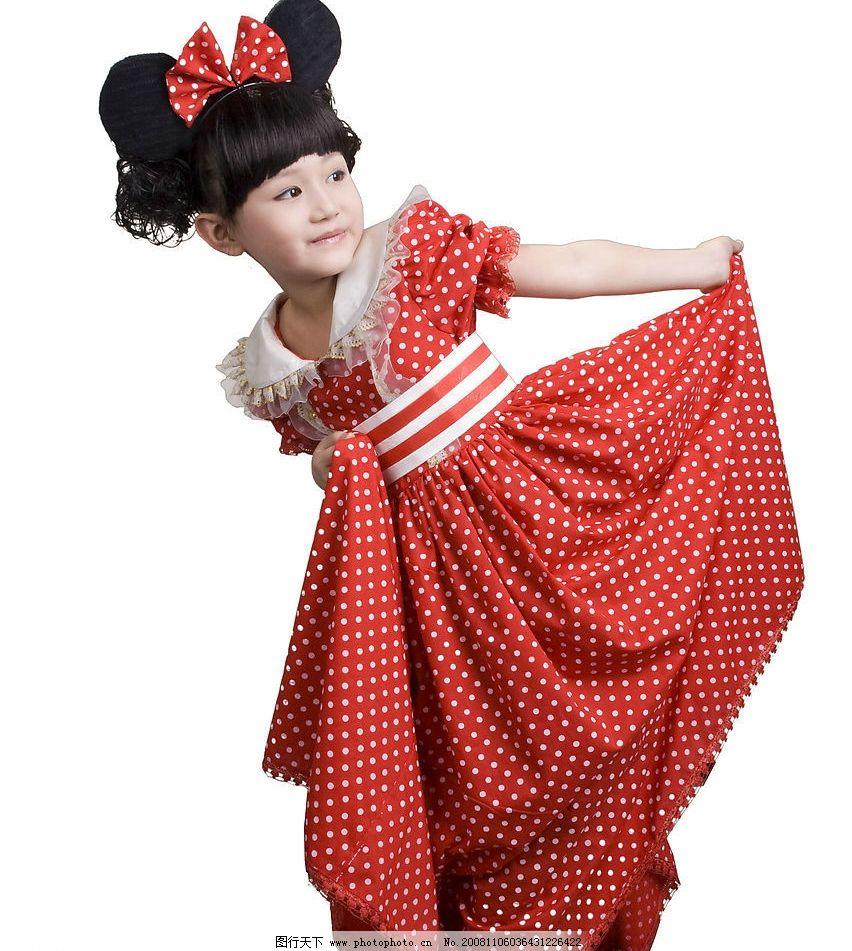 红裙子 儿童摄影 可爱的小女孩 女孩 蝴蝶结 米奇 人物图库 儿童幼儿