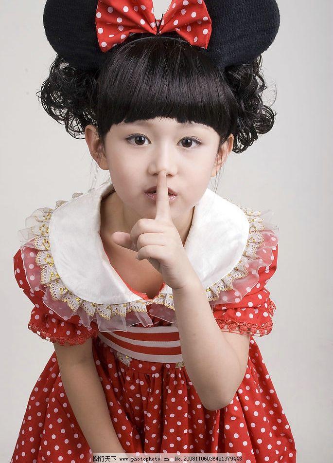 女孩 儿童摄影 可爱的小女孩 米奇 蝴蝶结 红裙子 嘘 人物图库 儿童