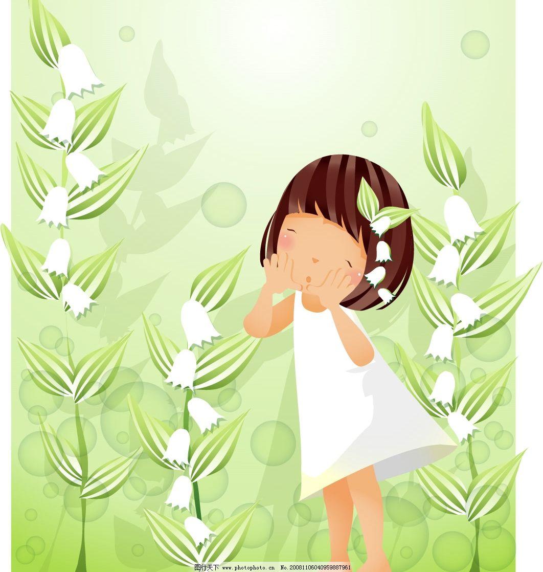 女孩 白色花朵 矢量 矢量人物 儿童幼儿 矢量图库