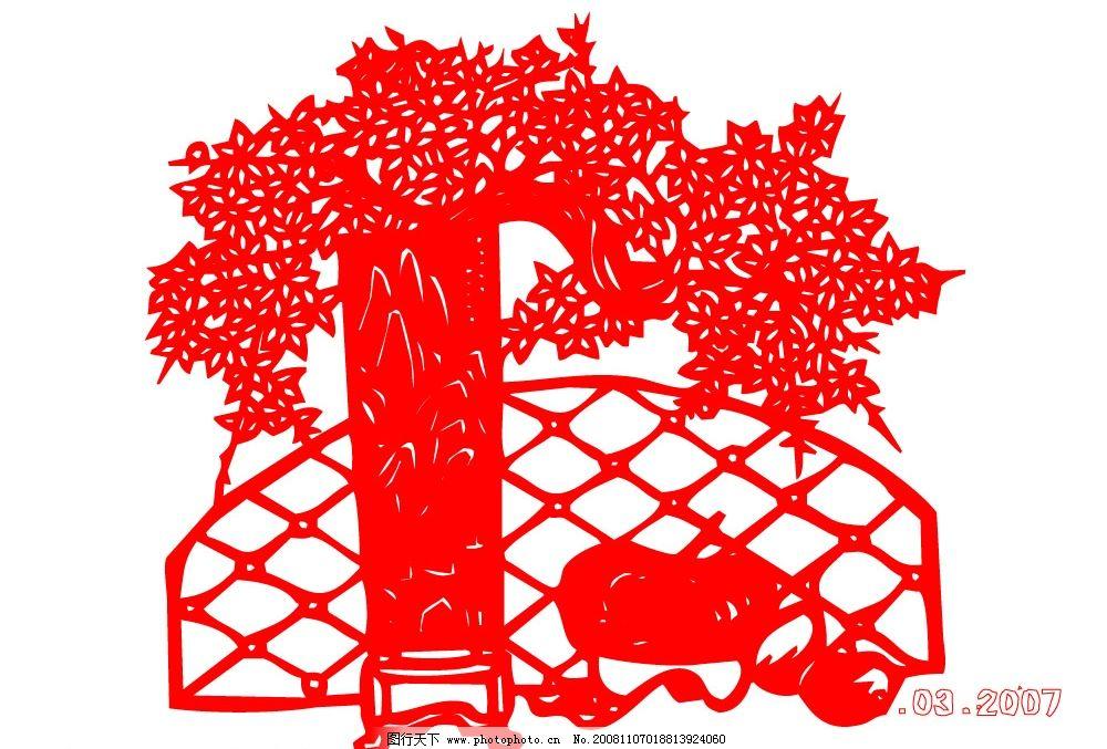 屏风 花瓶 栅栏 树 剪纸 喜庆 矢量图库