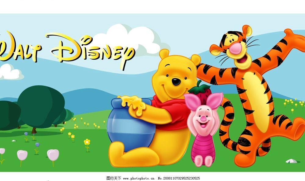 迪斯尼 小熊維尼 設計圖 迪斯尼海報 跳跳虎 小豬豬 自然風景 卡通