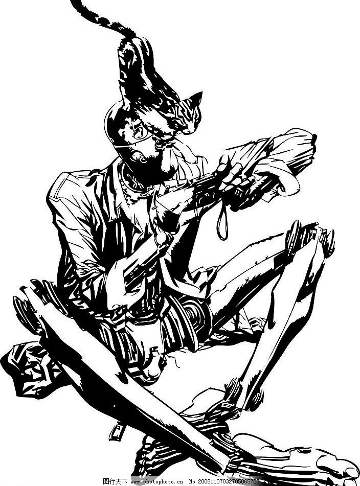 机器人 猫 照相机 漫画 黑线稿 无背景 psd分层素材 人物 源文件库