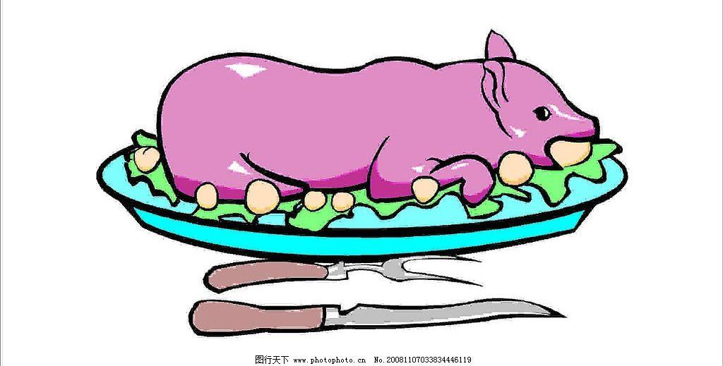 手绘文艺西餐彩色卡通