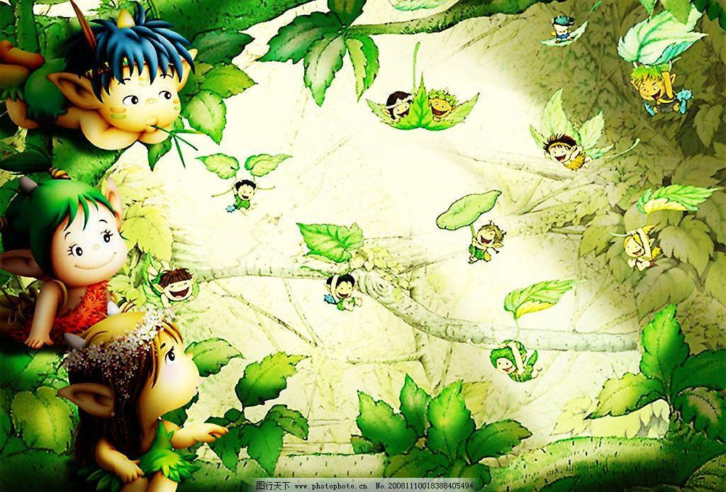 卡通壁纸 卡通 森林 小孩 叶子 树 动漫动画 动漫人物 设计图库 300