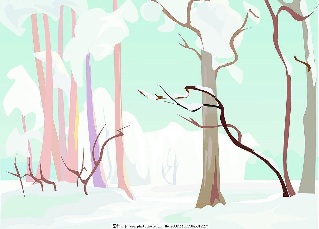 矢量素材 冰天雪地 树木