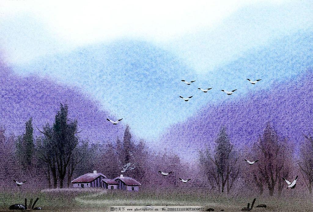 水彩画 鸟 房子 河流 水 草地 树木 大山 文化艺术 绘画书法 设计图库