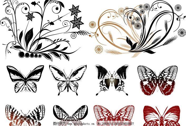 蝴蝶 动物 底纹边框 花纹花边 矢量图库