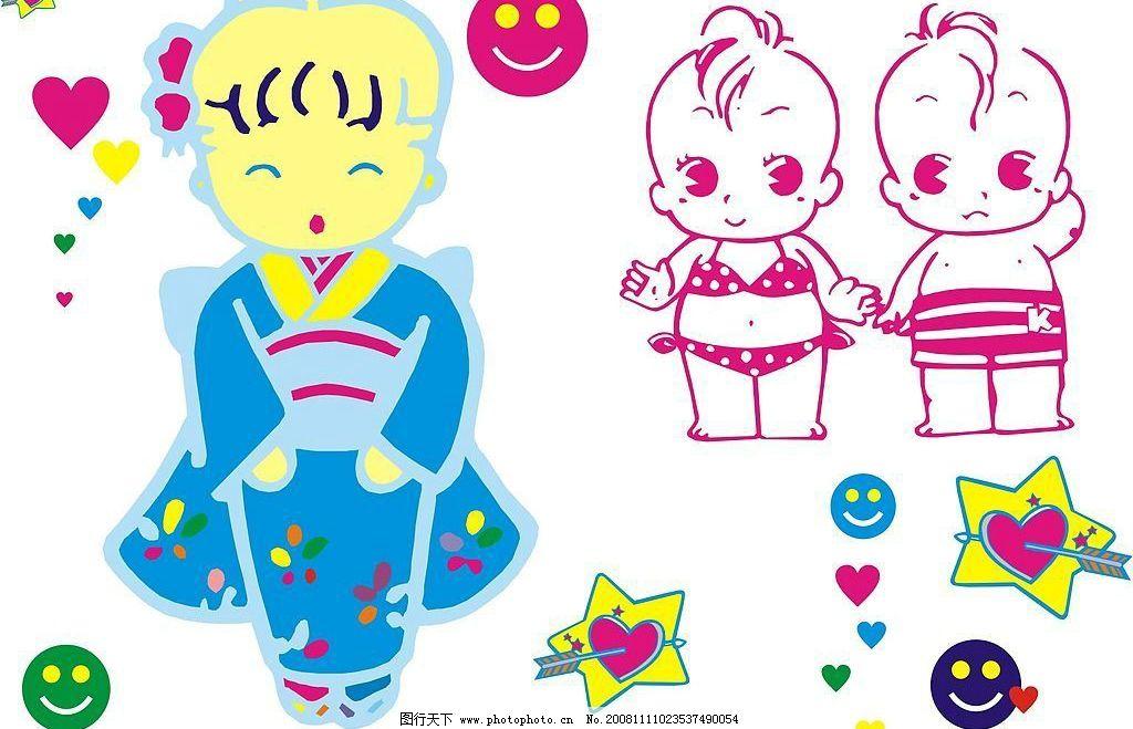 可爱娃娃 矢量人物 儿童幼儿 矢量图库 cdr