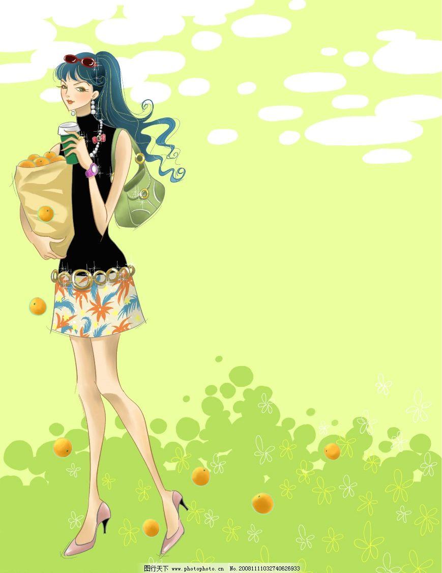 潮流美女 梦幻 花纹 浪漫 卡通 韩国风格 玻璃 移门 手绘 彩绘 插画