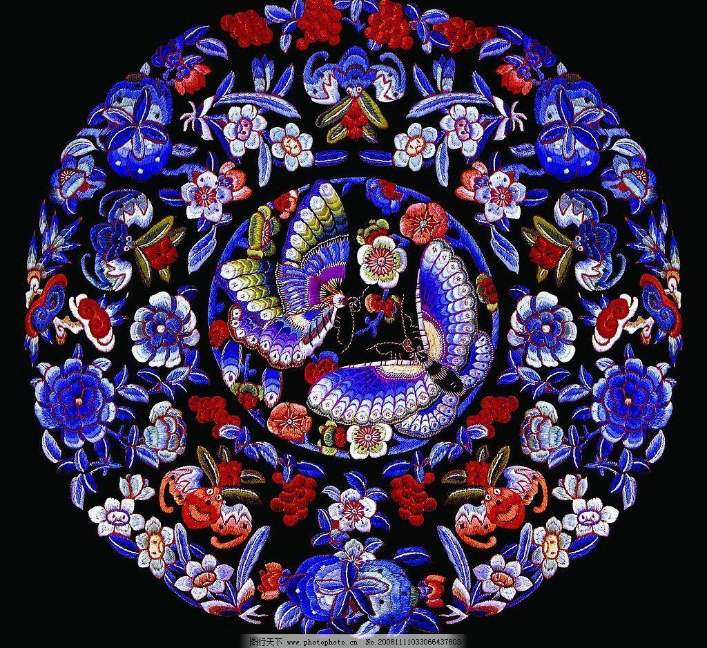 花形框 蝴蝶 蝙蝠 吉祥物 刺绣 粱祝 双蝶 两只蝴蝶 psd分层素材 源文