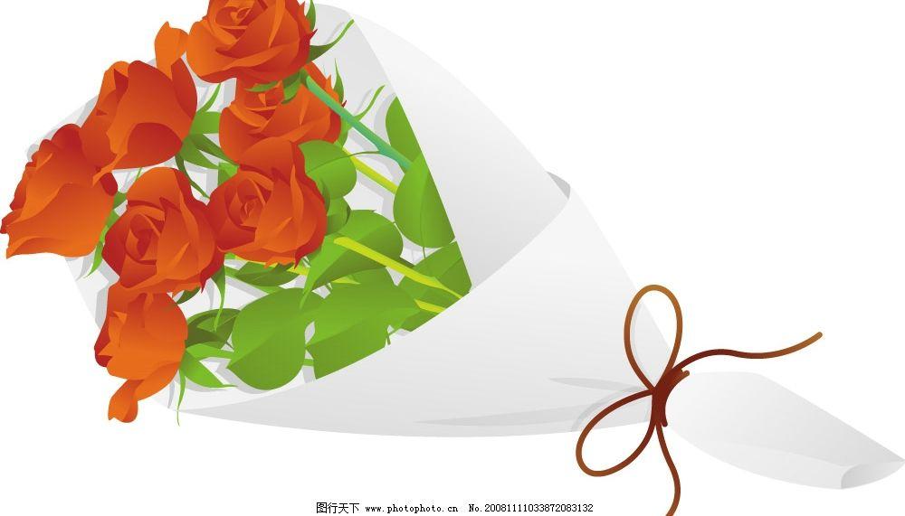 鲜花 玫瑰花 红花 一束花 其他矢量 矢量素材 矢量图库 ai