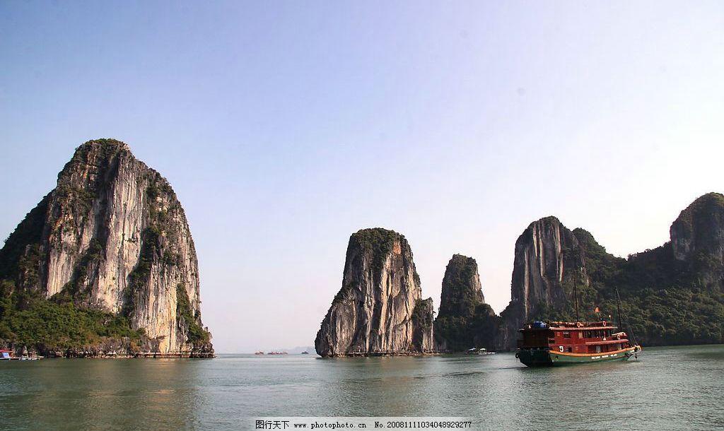 海上桂林 越南 旅游 摄影 海边 国外 大海 海中的山峰 游船 旅游摄影