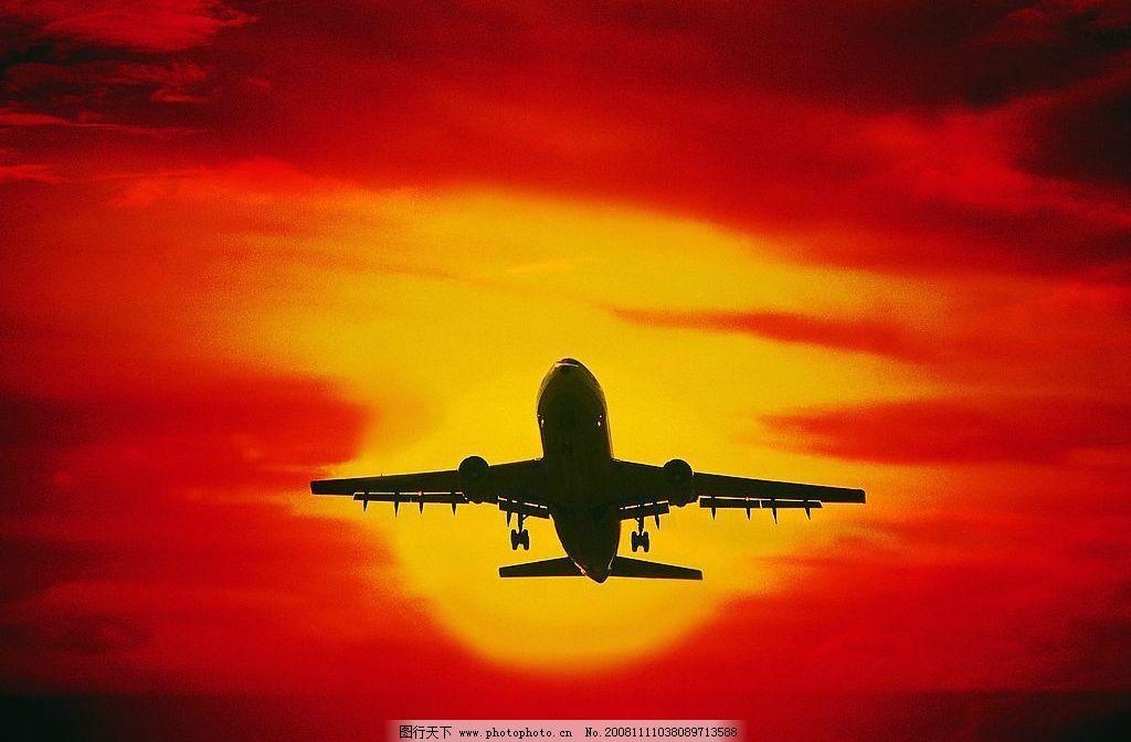 飞机 朝阳 现代科技 交通工具