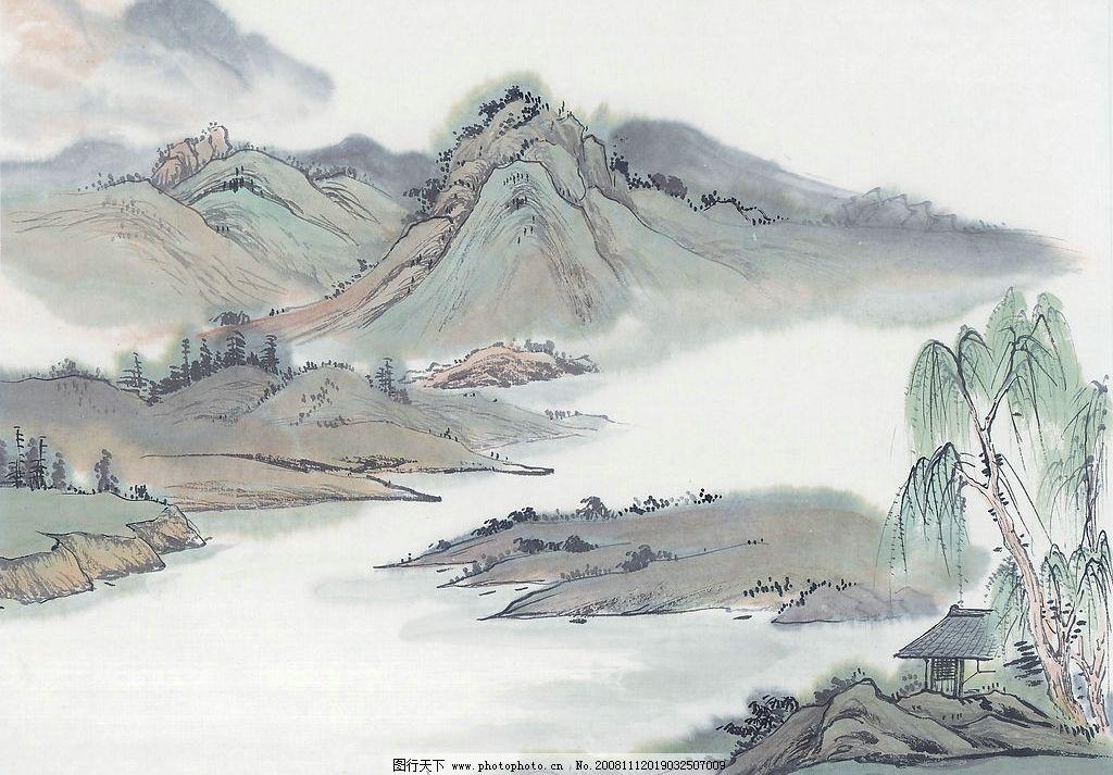 水墨画 水彩画 山水画 山 房 树 文化艺术 绘画书法 设计图库 300dpi