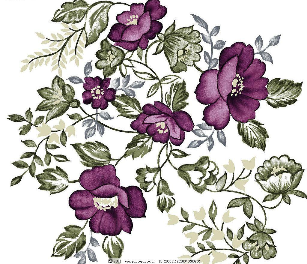 单朵艳丽配色花纹 背景 花朵 柔美 漂亮 古典 古色古香 手绘