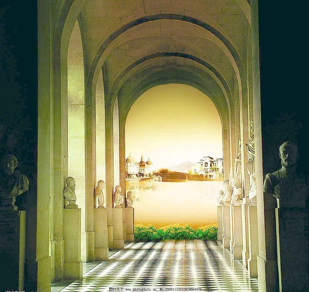 欧式建筑模板下载 欧式建筑 房地产 古典藏奢华 雕塑 对称陈列 圆顶