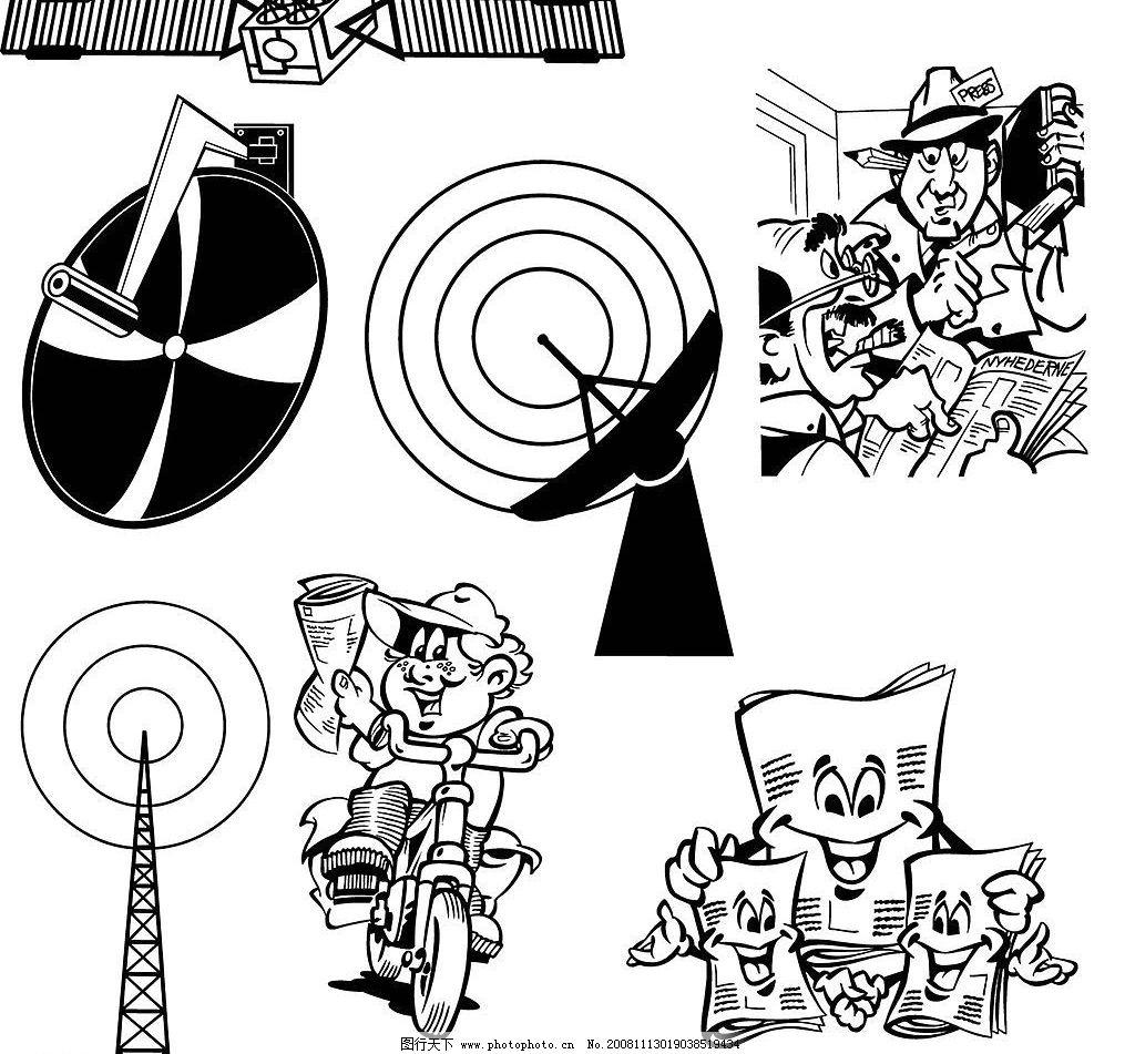 255个经典的黑白卡通图案矢量 eps格式 矢量beeline 卡通 人物 各种