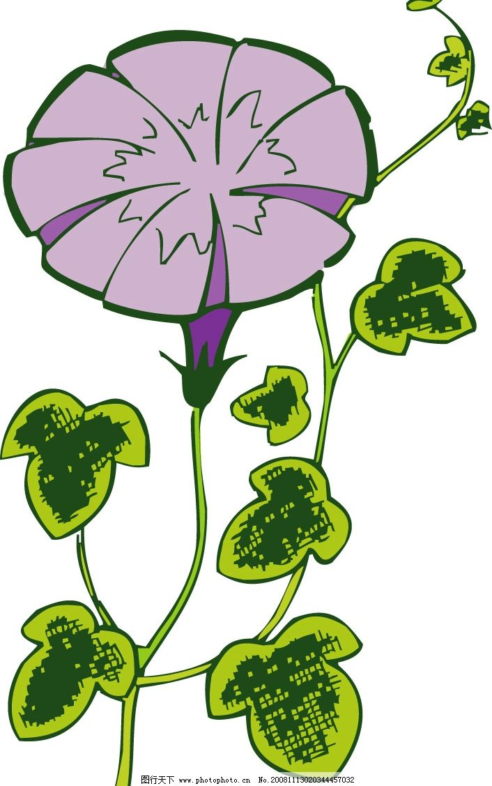 牵牛花 粉红色的 带叶子的 底纹边框 花纹花边 矢量图库