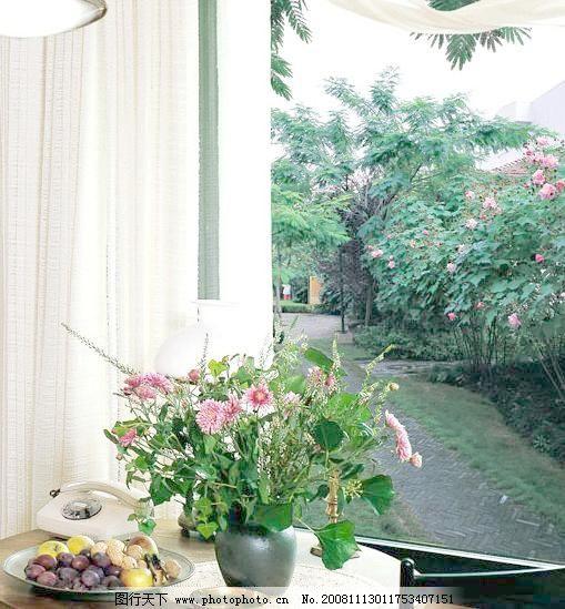 花 落地窗 水果 窗外风景素材下载 窗外风景模板下载 窗外风景 装饰画
