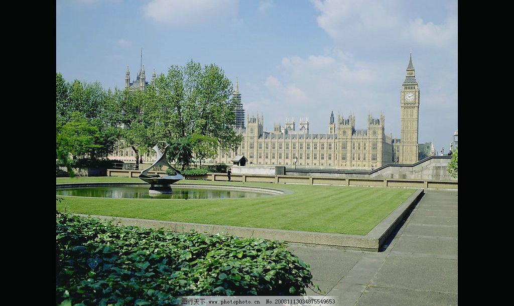欧式风光 建筑 草地 水景 雕塑 自然景观 自然风景 摄影图库