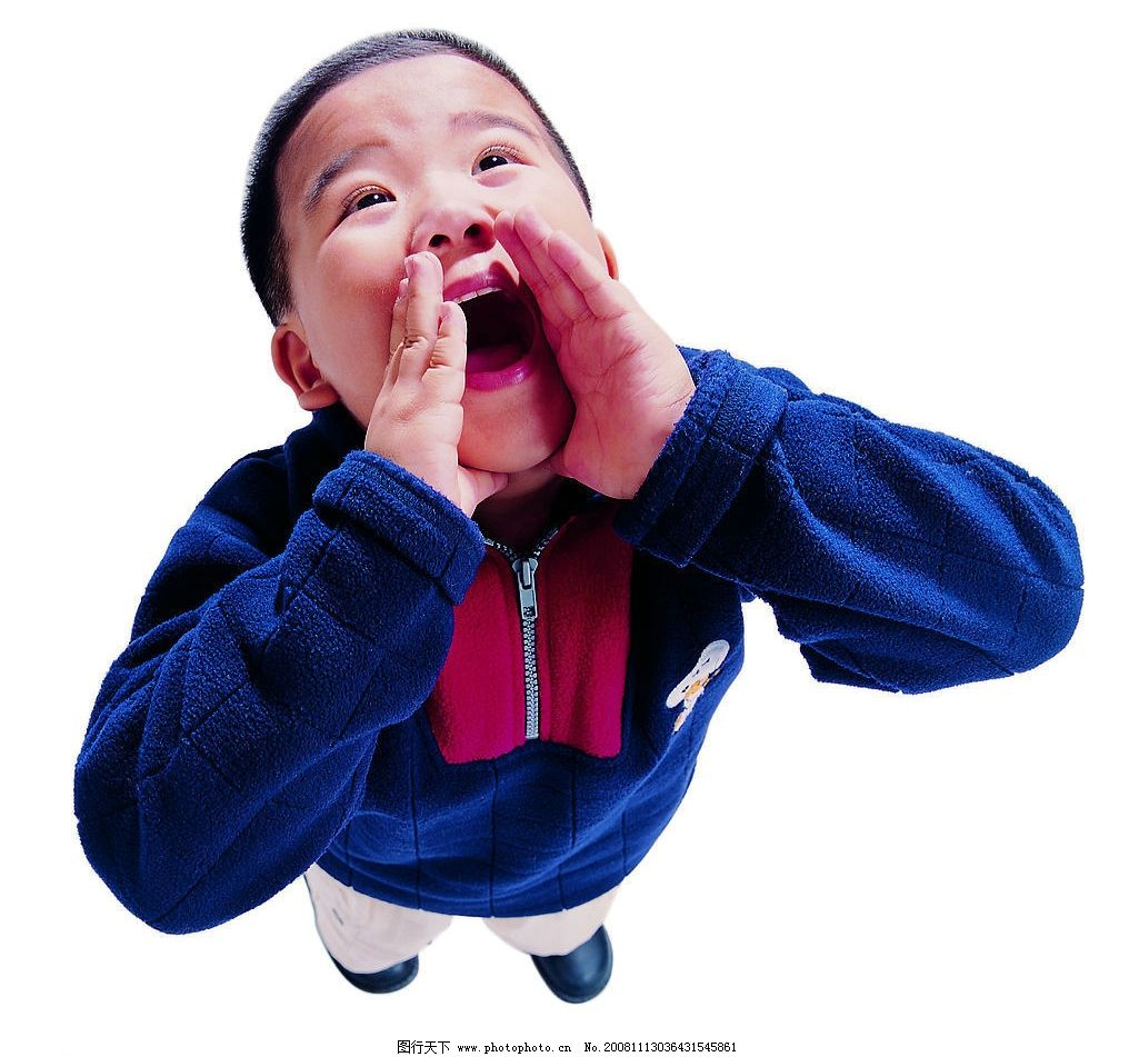 儿童图片,男孩 调皮 可爱 大喊 开心 叫喊 顽皮-图行