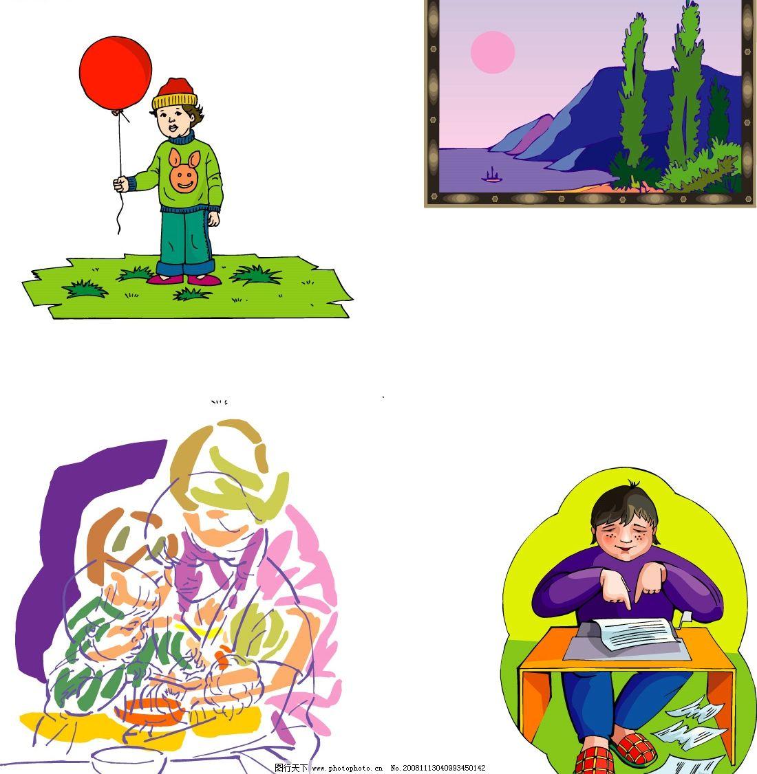 卡通人物 失量图 矢量人物 儿童幼儿 矢量图库 ai