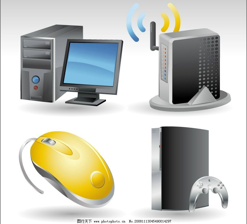 精美图标 矢量电脑 音箱 鼠标 主机 显示器 现代科技 通讯科技 矢量