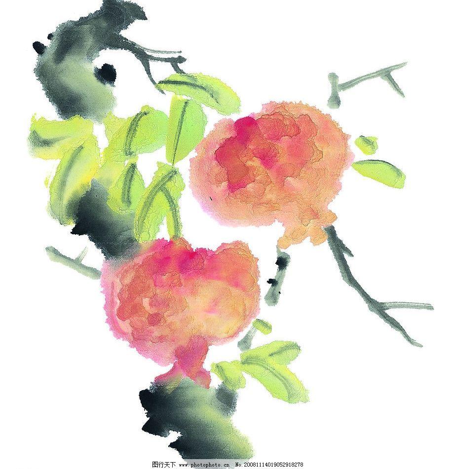 石榴 水果 果蔬 国画 素材 艺术 植物 果树 文化艺术 绘画书法 设计