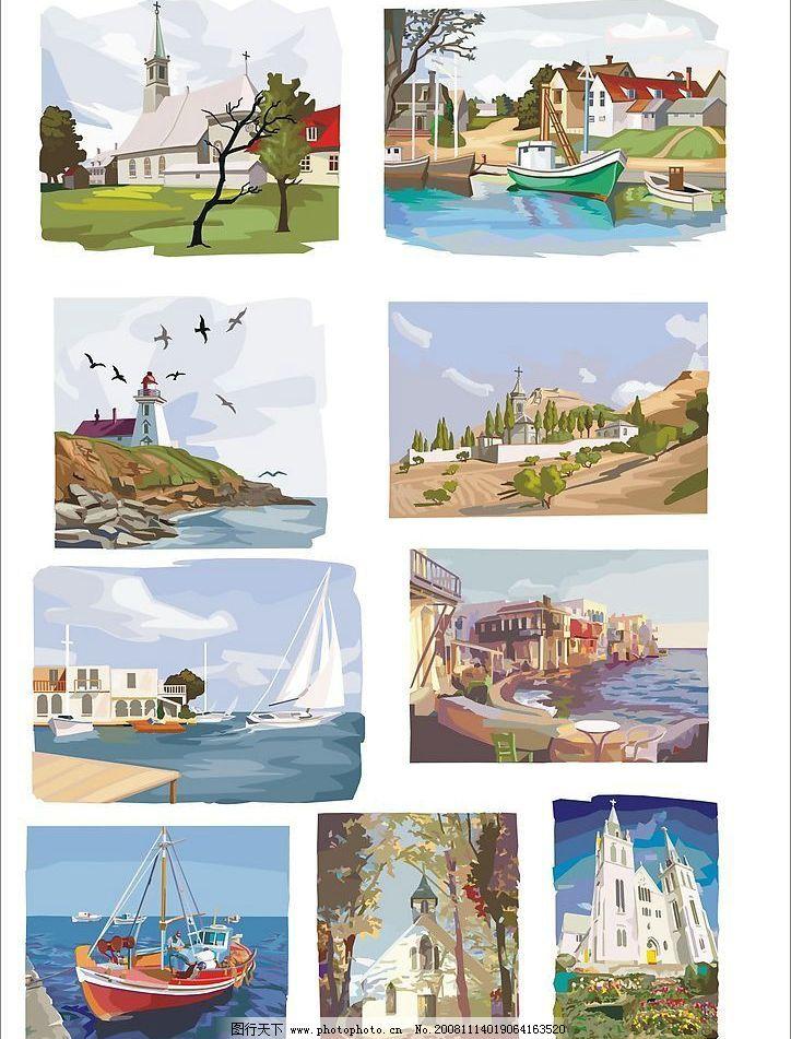 矢量风景画 风景水彩画 灯塔 帆船 海边 城堡 文化艺术 美术绘画 矢量