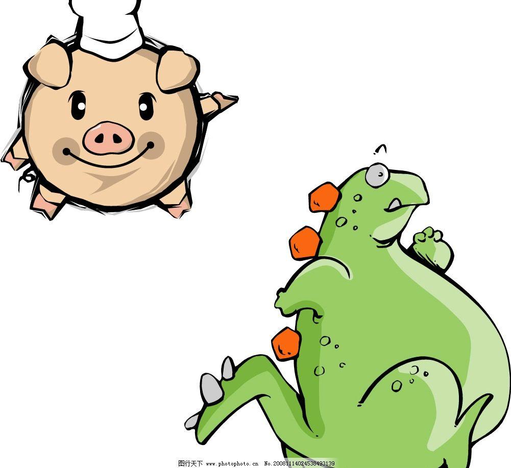 小猪 恐龙ai8 动物 矢量图库