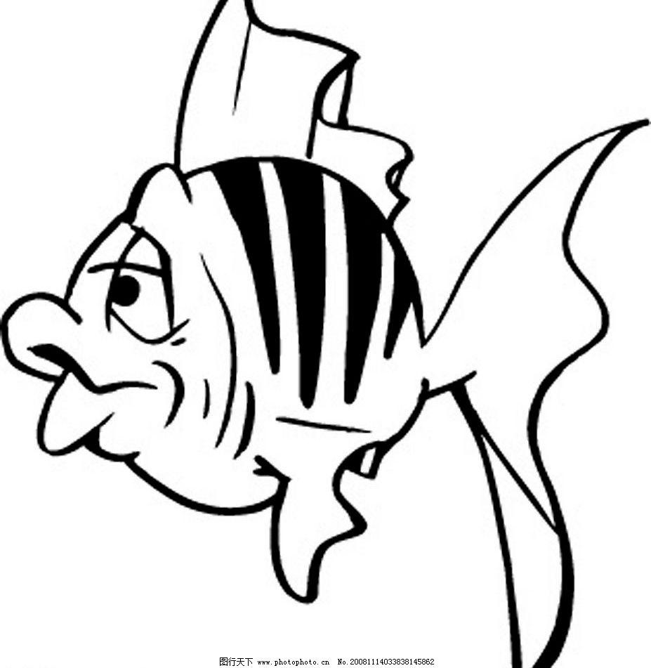 热带鱼 鱼 黑白 卡通 其他矢量 矢量素材 矢量图库 eps