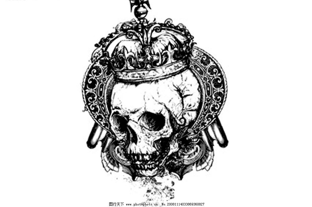 欧式黑白骷髅头矢量素材图片
