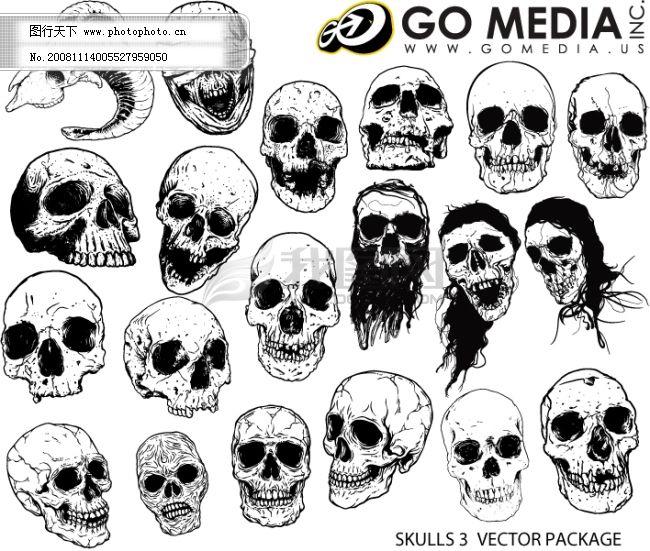 骷髅头 骷髅头免费下载 成品 黑白矢量图 剪纸 头发 效果图 眼睛
