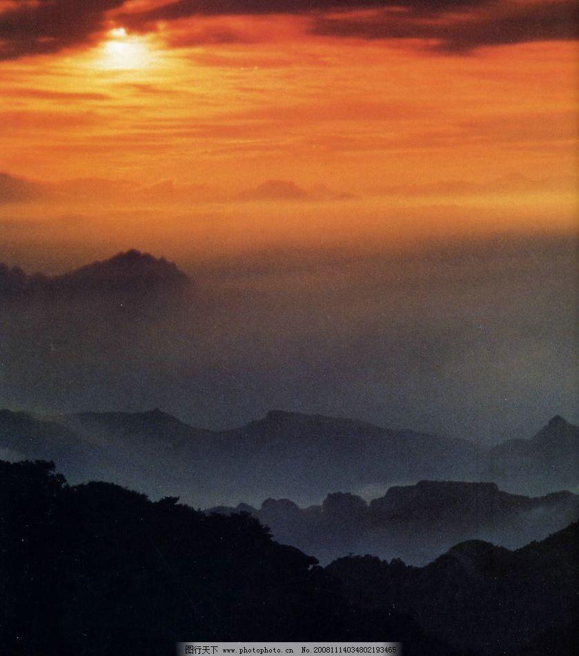 云蒙云海 云 夕阳 山 自然景观 自然风景 摄影图库 72dpi jpg