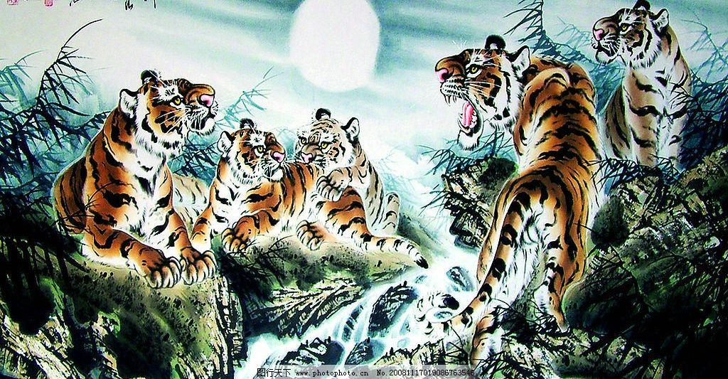 五虎 老虎 装饰画 文化艺术 绘画书法 设计图库 40dpi jpg