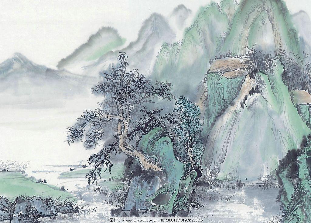 水墨画 山水画 水彩画 树 文化艺术 绘画书法 设计图库 300dpi jpg