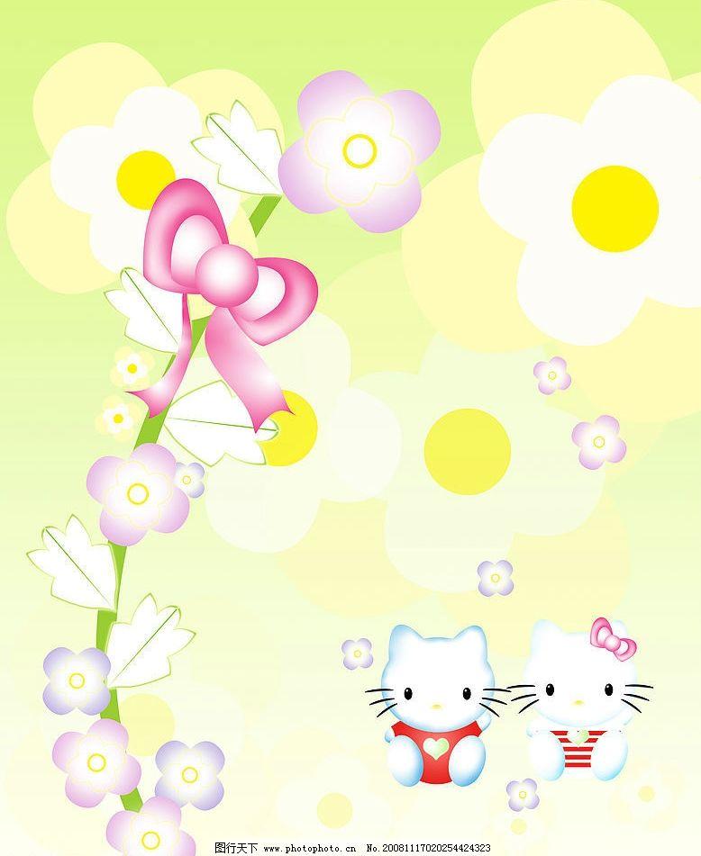 卡通 背景 花 可爱 花朵      猫 卡通动物 底纹边框 背景底纹 设计