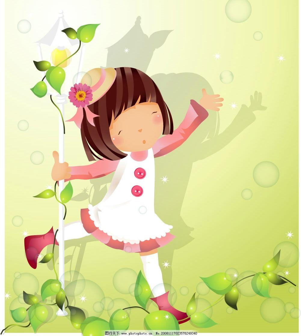 天真的小女孩 可爱 可爱的小女孩 小孩 卡通 矢量人物 矢量图库