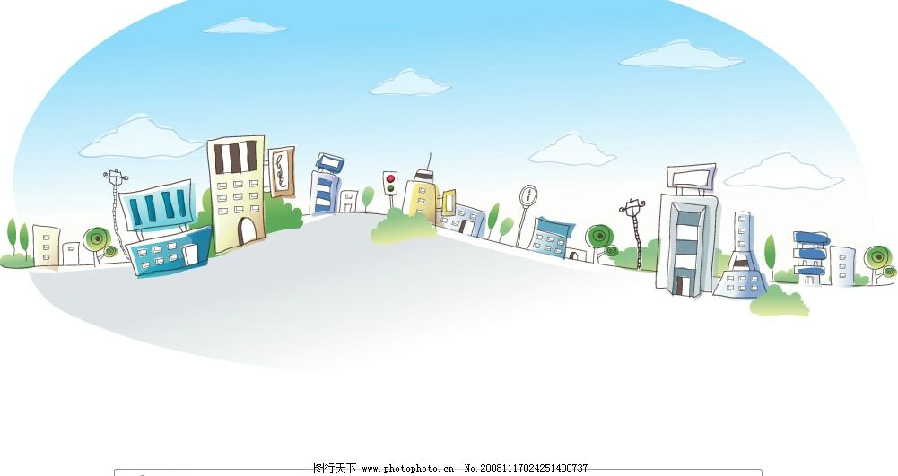 韩国手绘房子 自然景观 建筑景观 矢量图库 ai