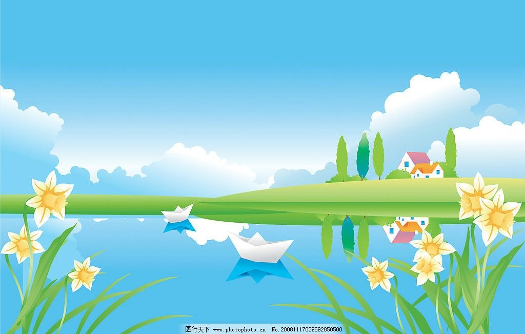 矢量 蓝天 白云 花草 树木 池塘 船 cdr 卡通 素材图片