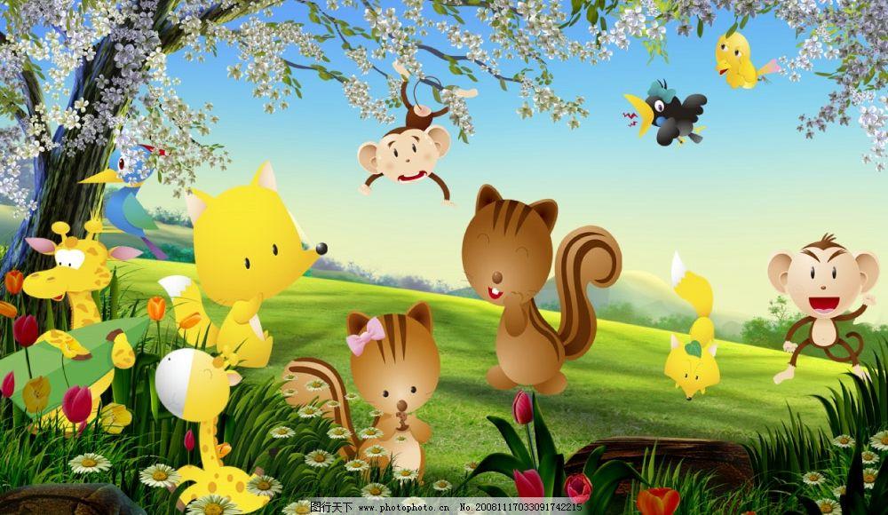 小动物主题 狐狸 猴 松鼠 鹿鸟 可爱 童趣 源文件库 幼儿园环境创设