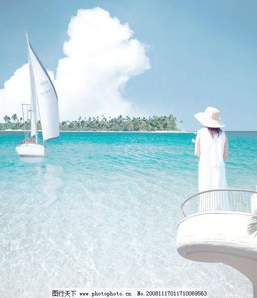大海 大海图片免费下载 背影 帆船 风景 风景画 海面 美女 大海素材
