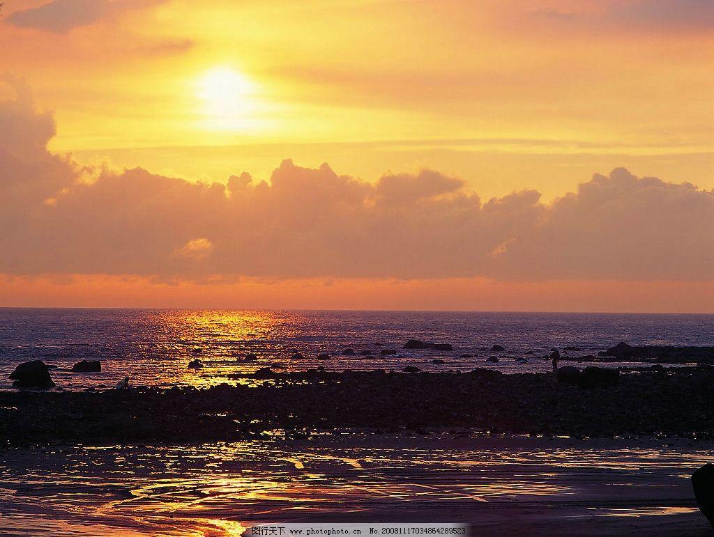 风景 夕阳 晚霞 海滩 自然景观 自然风景 摄影图库