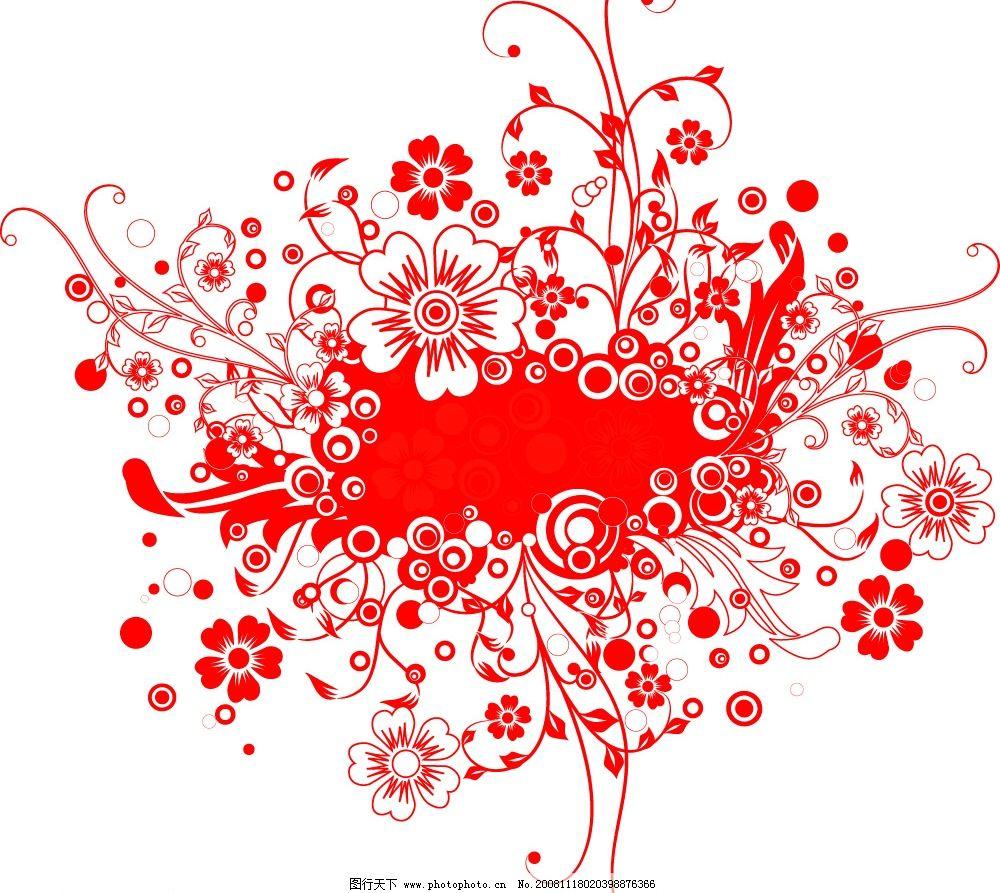 蔓草系列 虚实 五瓣 小花 底纹边框 花纹花边 矢量图库 eps
