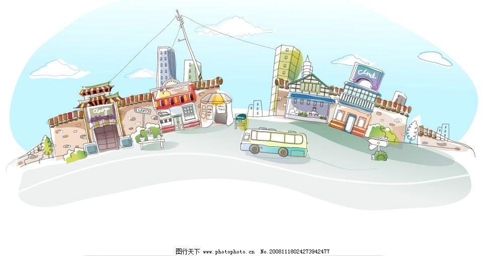 韩国手绘房子图片_建筑园林