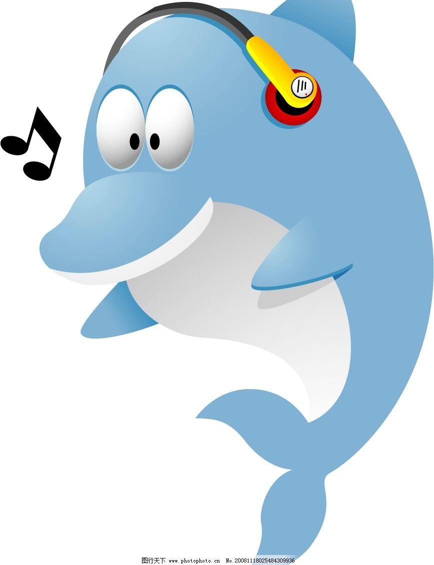蓝色小海豚 可爱的蓝色小海豚 听音乐的小海豚 其他生物 矢量图库