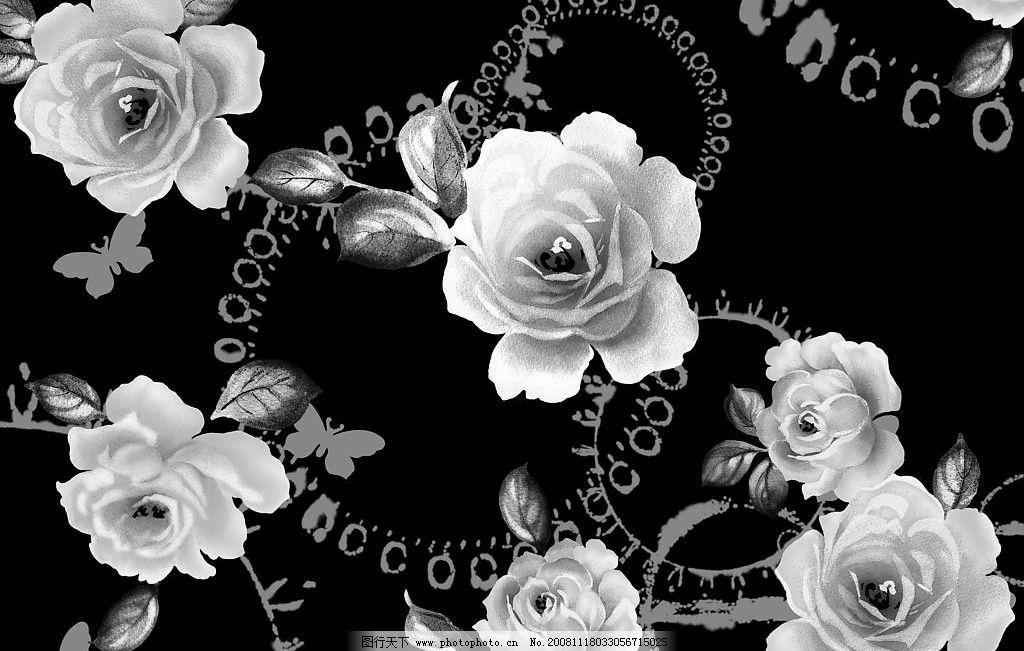 黑白花 花朵 psd分层素材 源文件库 200dpi psd图片